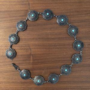 Vintage Metal/Turquoise Belt